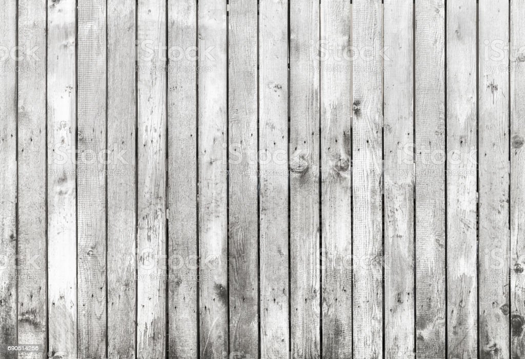 Old white grungy wooden fence texture stock photo