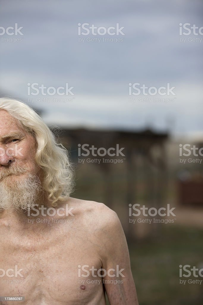 Old white haired man royalty-free stock photo