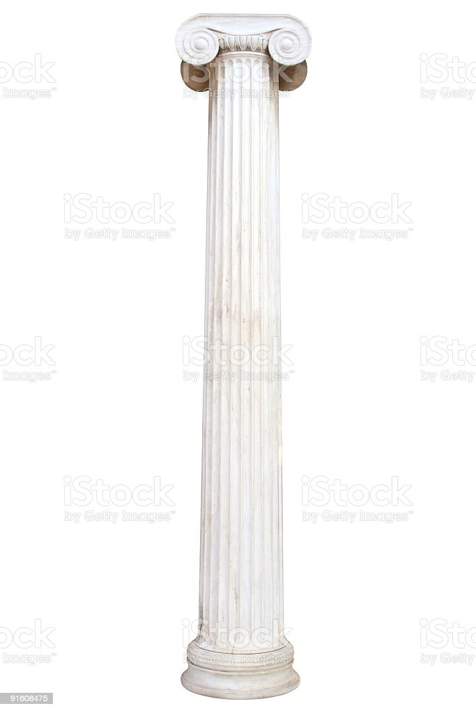 Old white pillar isolated on white stock photo