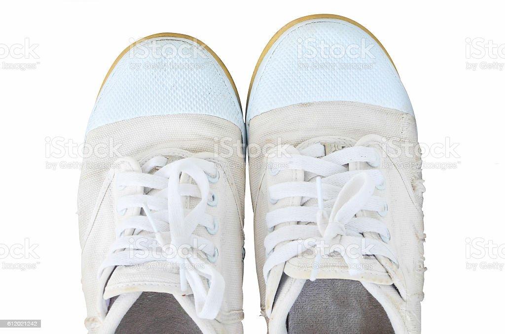Old white shoe on isolated stock photo
