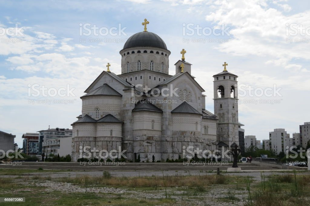 Old white stone cathedral stock photo