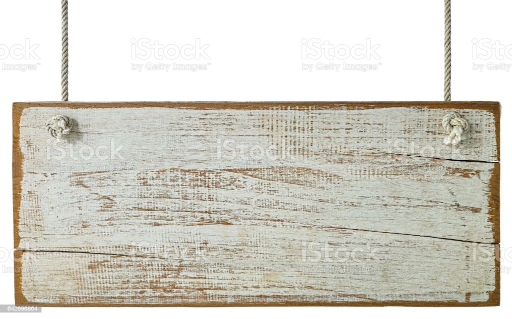 Old white weathered wood board sign with lots of character, hanging by old rope, isolated on white with clipping path. stock photo