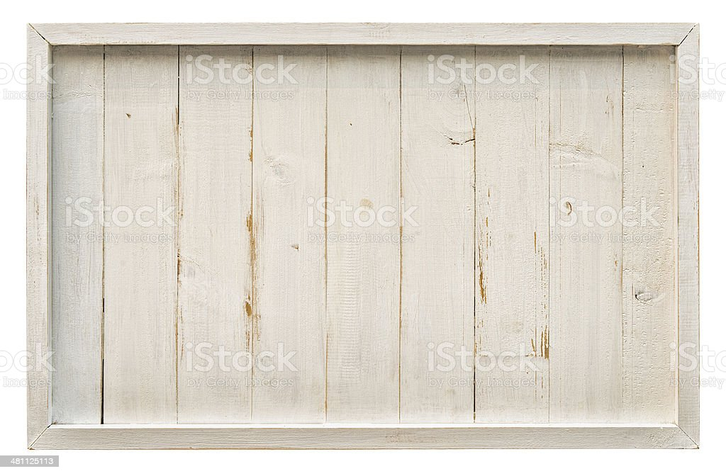 Old white weathered wooden panel. stock photo