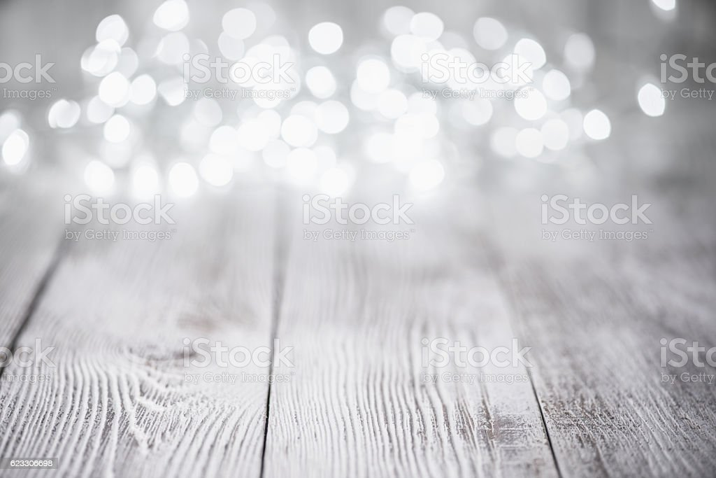 Old White Wood Background and defocused lights stock photo