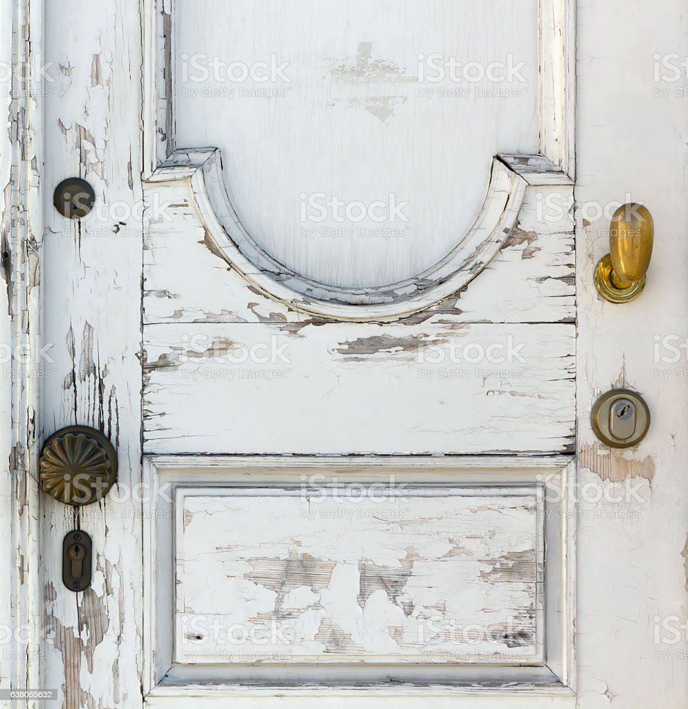 Old White Wooden Door stock photo