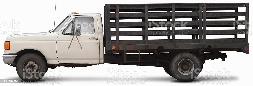 Old white work truck stock photo