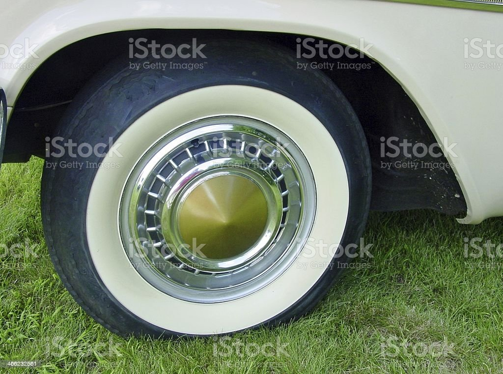 Old Whitewall Tire on a Classic Car royalty-free stock photo