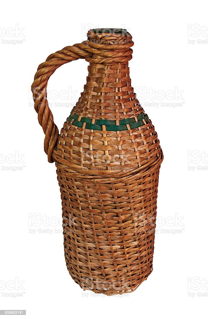 old wicker bottle royalty-free stock photo
