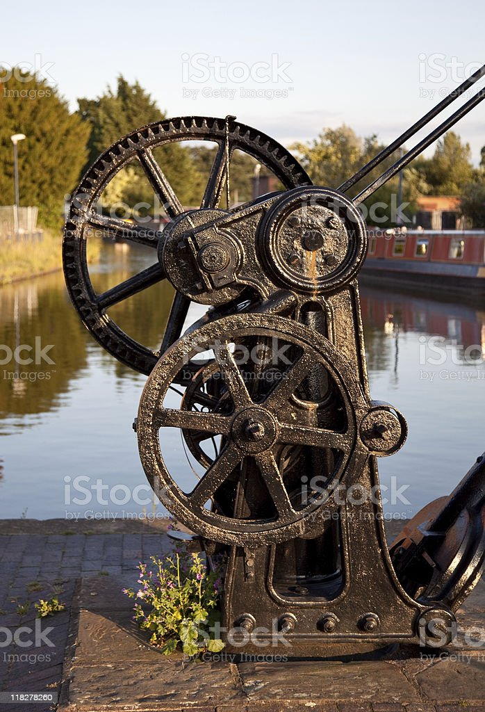 Old winch by canal in Ellesmere stock photo