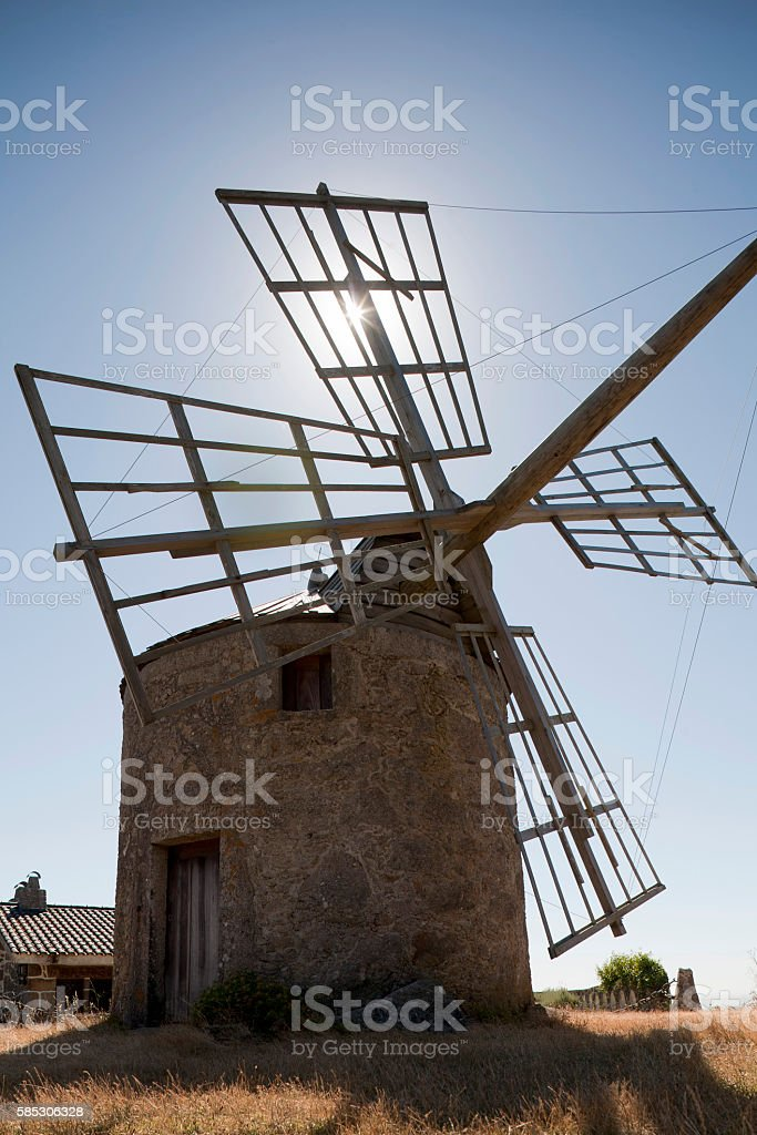 Old windmill at Montedor, North Portugal. stock photo