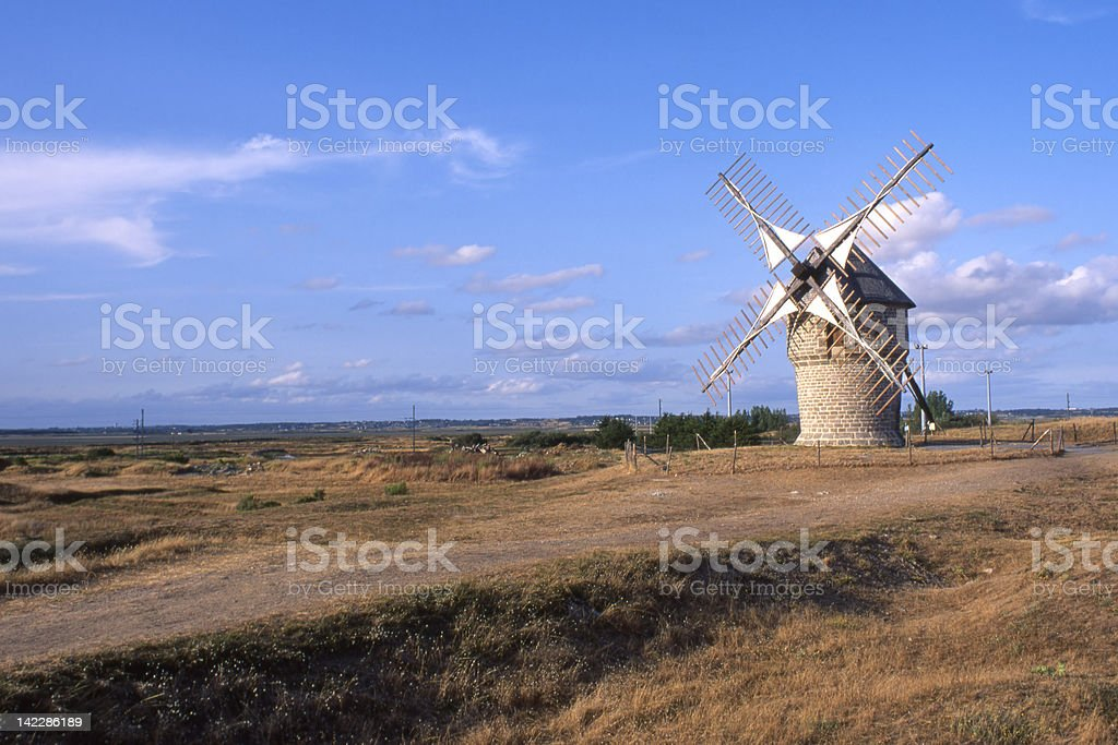 Old Windmill. Guerande. France stock photo