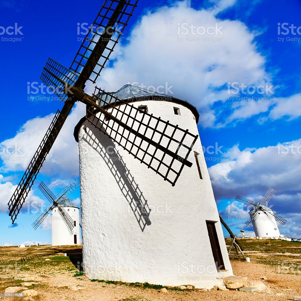 old windmill in Campo de Criptana, Spain stock photo