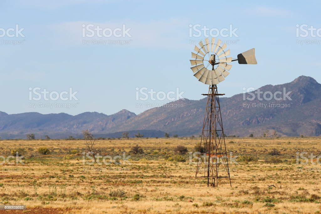 Old windmill in Flinders Ranges stock photo
