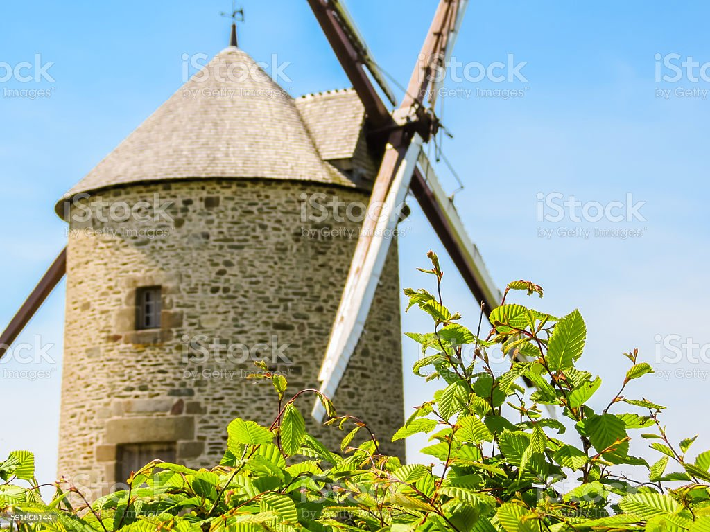Old Windmill in Normandy, France stock photo