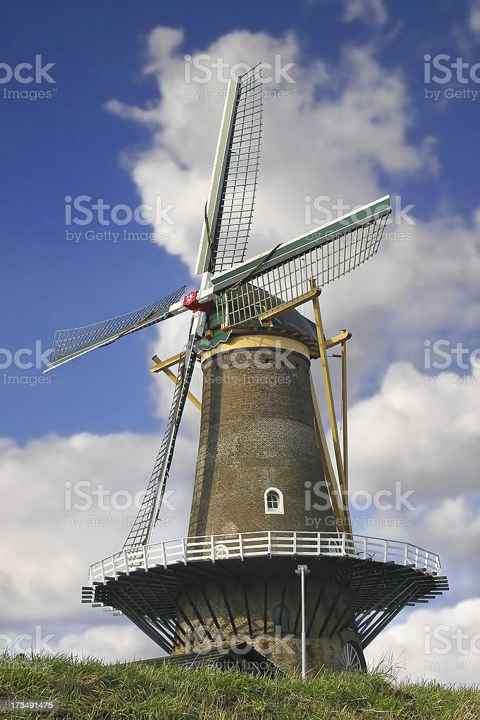 Old windmill in the town of Gorinchem. Netherlands royalty-free stock photo