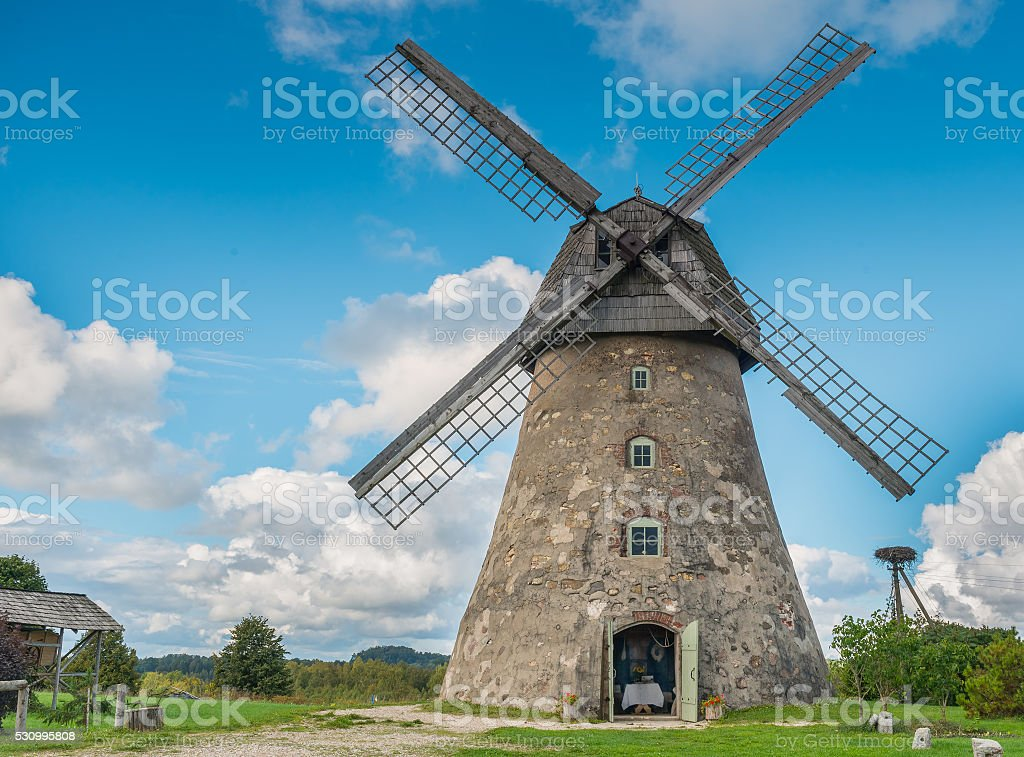 Old windmill in Vidzeme, Latvia, Europe stock photo