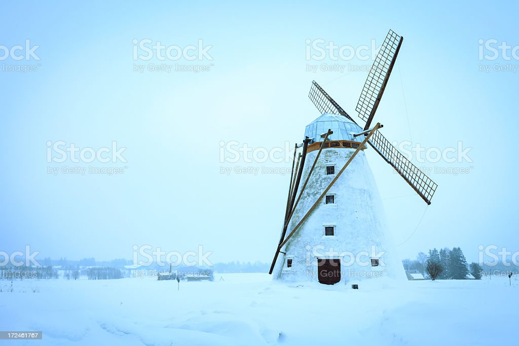 Old windmill in winter royalty-free stock photo