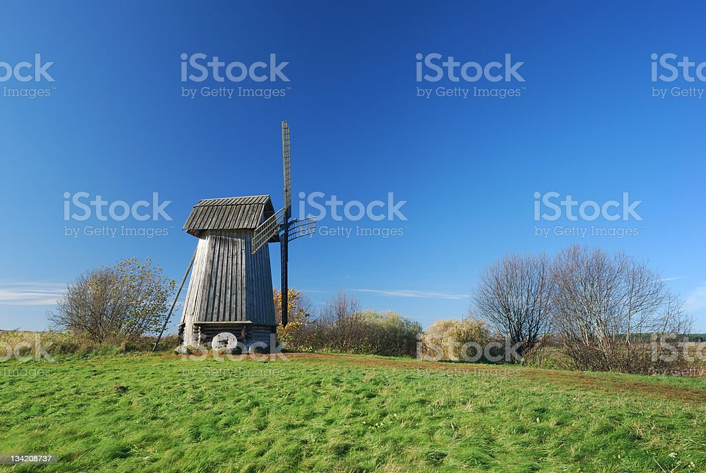 Old windmill stock photo