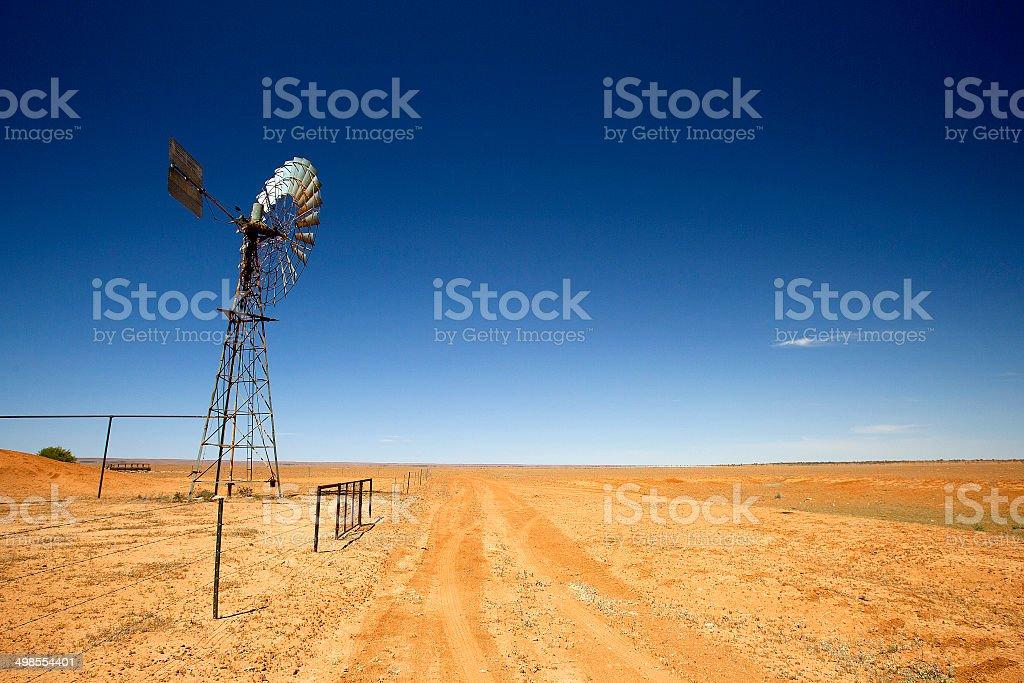 Old Windmill, Simpson Desert, Australia stock photo