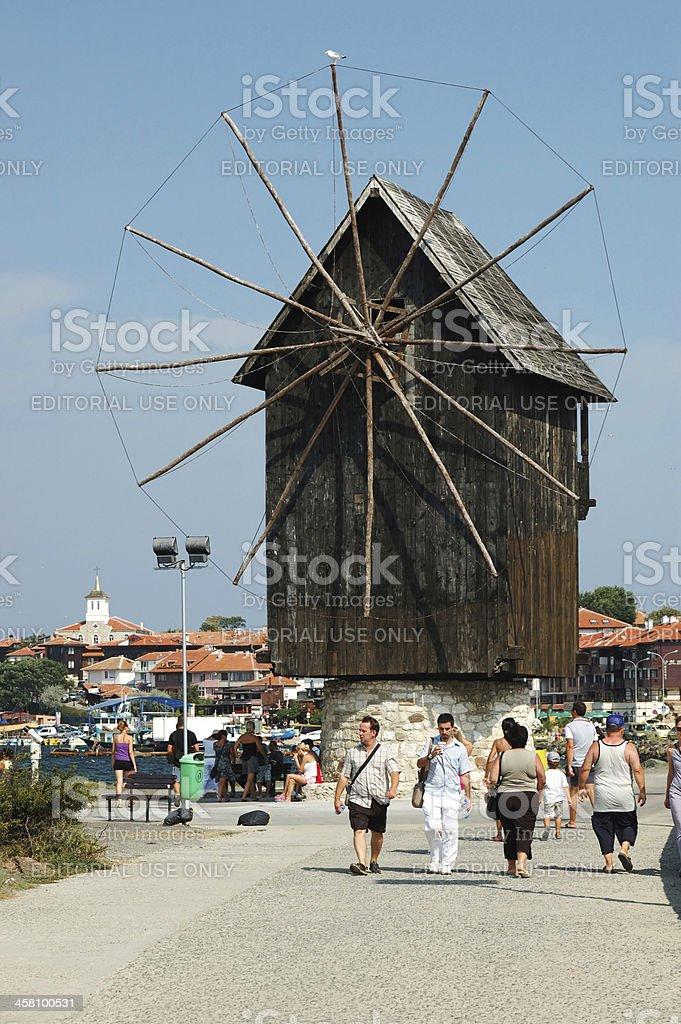 Old windmill ta famous Nesebar island -popular touristic place,Bulgaria royalty-free stock photo