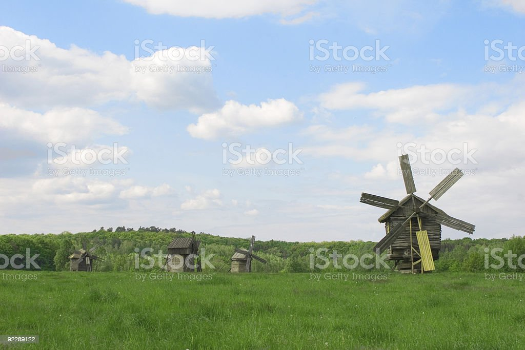 Old windmills royalty-free stock photo