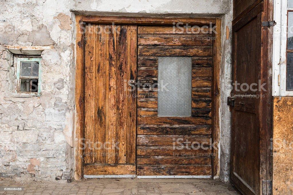Old window in Canazei stock photo