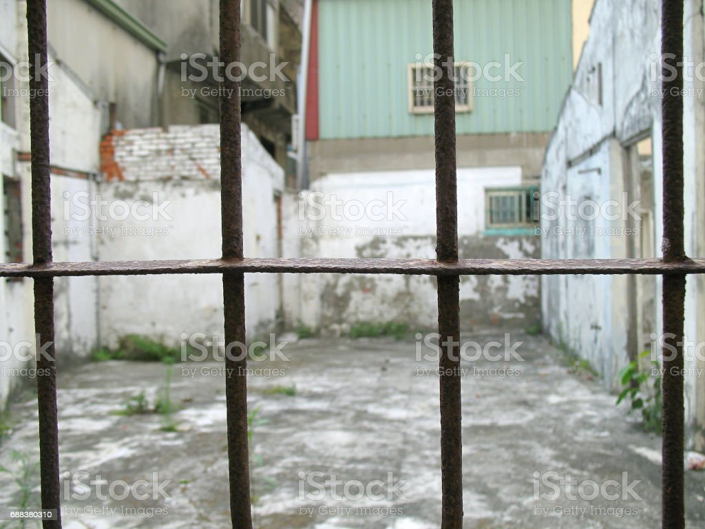 Old Window Iron Bars stock photo