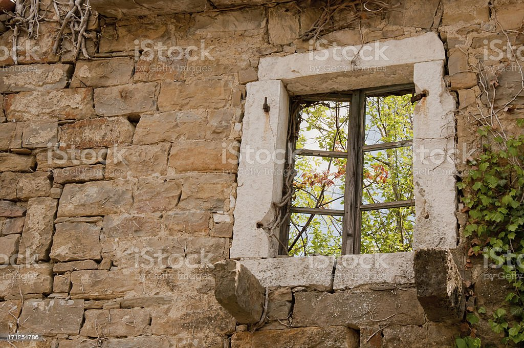 Old window set into old wall that has decayed and overgrown stock photo