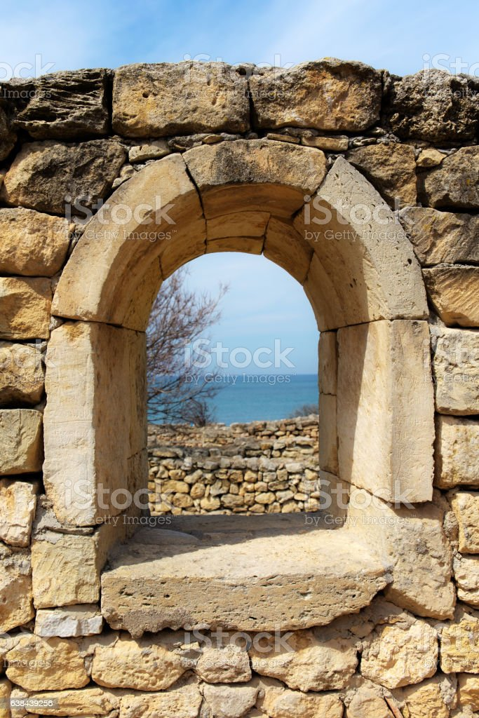 old window with a sea view stock photo