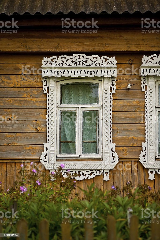 Old window with casing stock photo