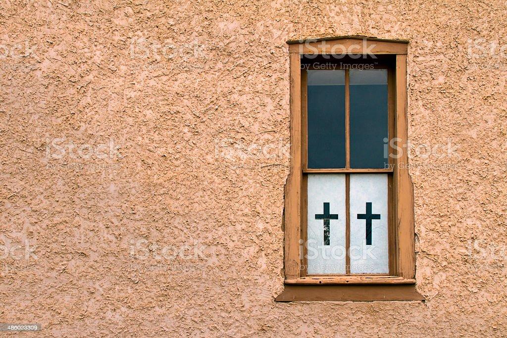 Old Window with Cross stock photo