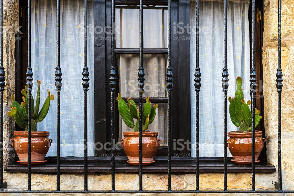 Old window with flower pot in Spain stock photo