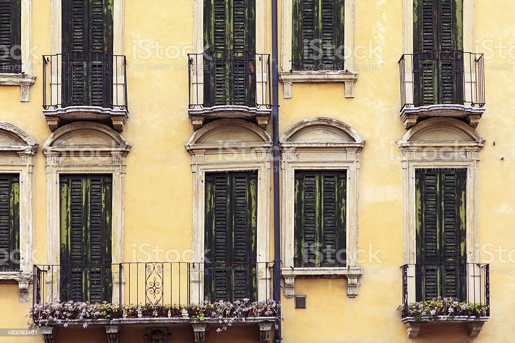 Old windows and balconies royalty-free stock photo