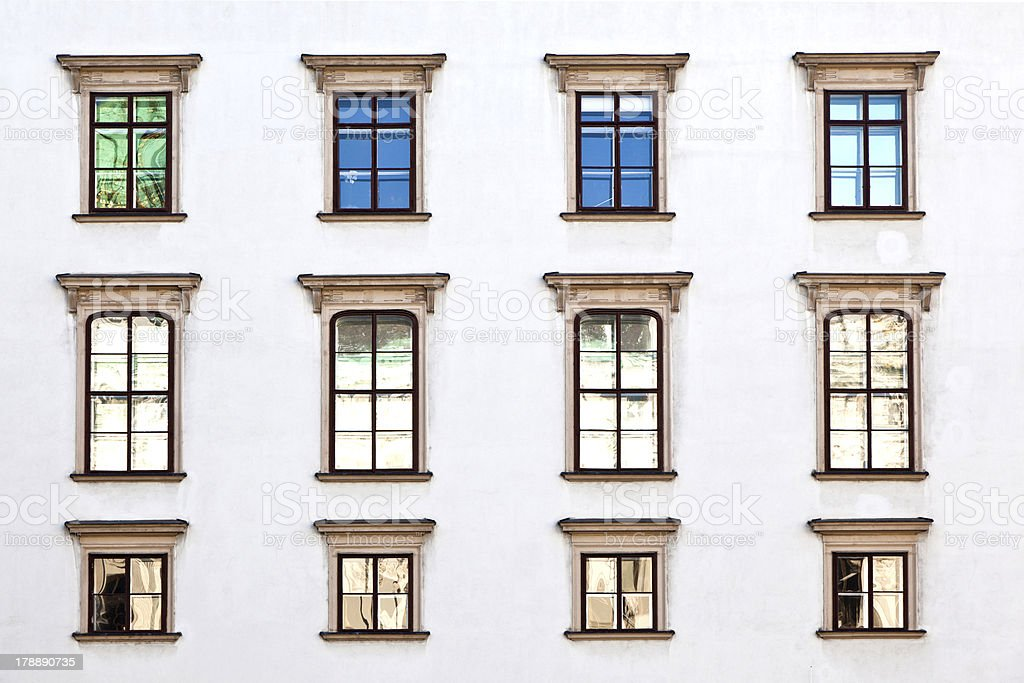 old windows at Hofburg facade in vienna royalty-free stock photo