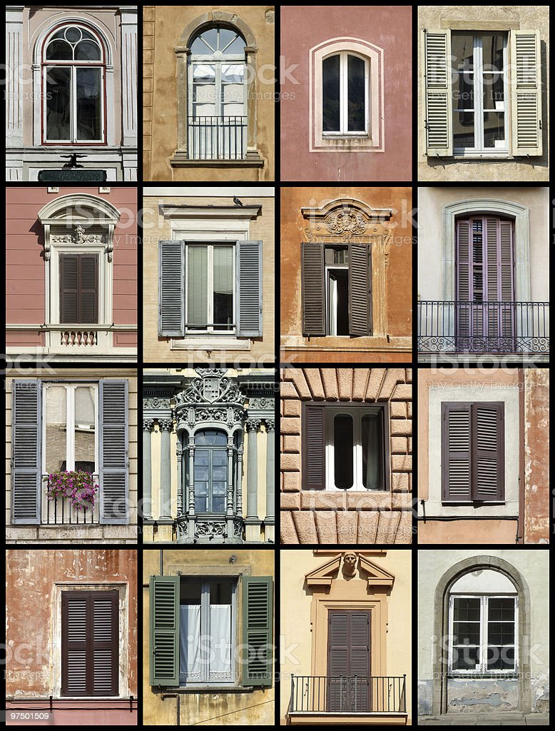 Old windows collage royalty-free stock photo