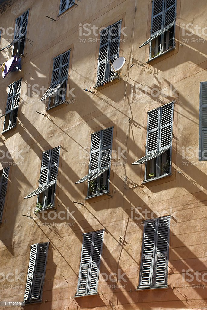 Old windows in Nice royalty-free stock photo