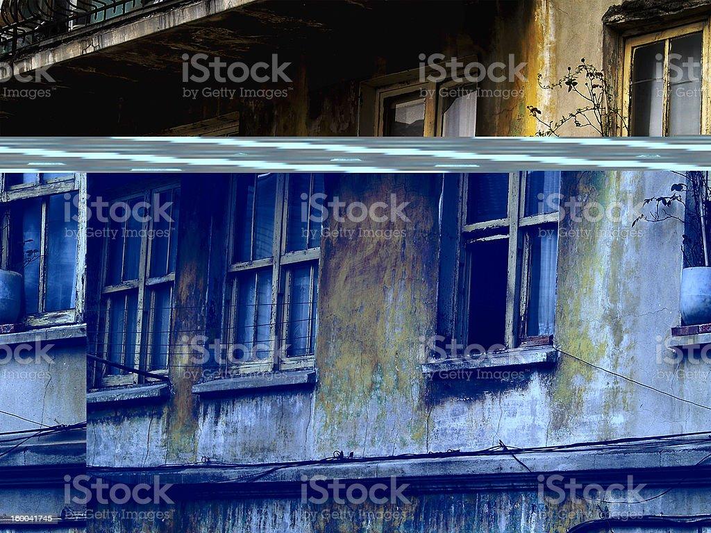 old windows - outside stock photo