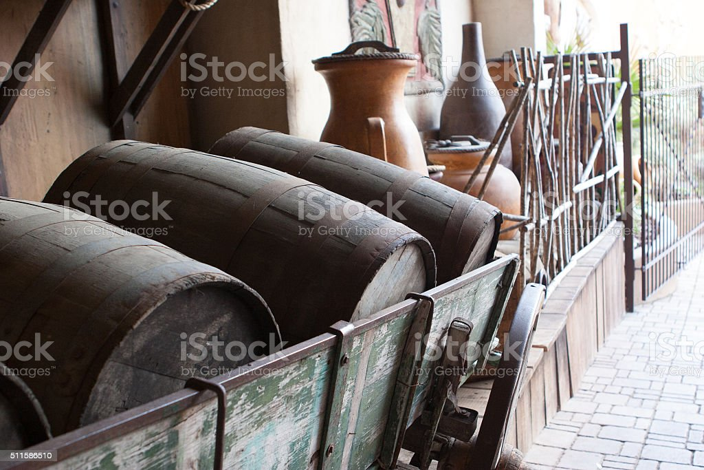 Old wine keg on the street stock photo