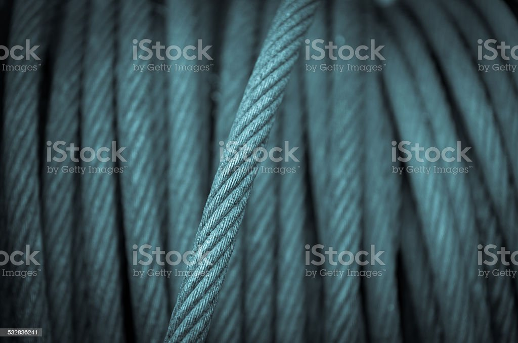 Old wire rope texture, machine steel stock photo