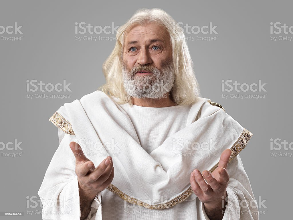 Old wise man dressed in toga stock photo