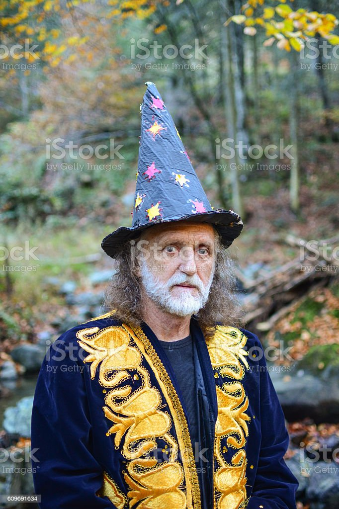 Old wizard with gray hair and beard stock photo