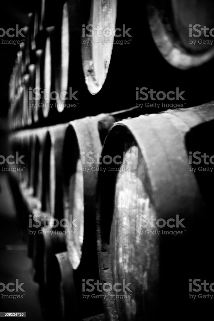 old wodden barrells stock photo