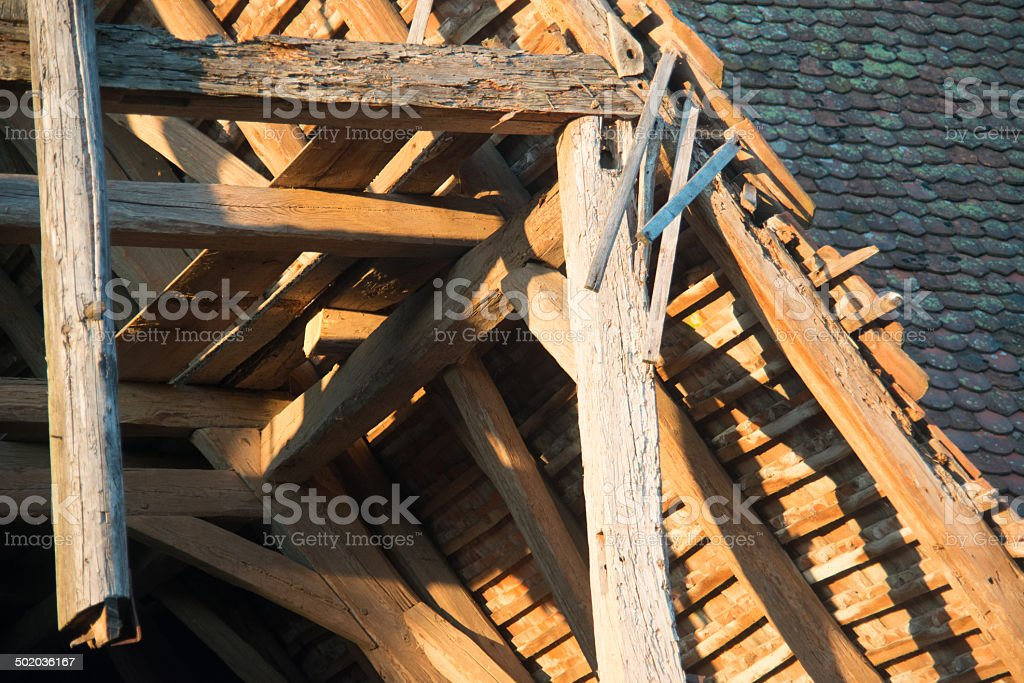 old wodden roof truss stock photo