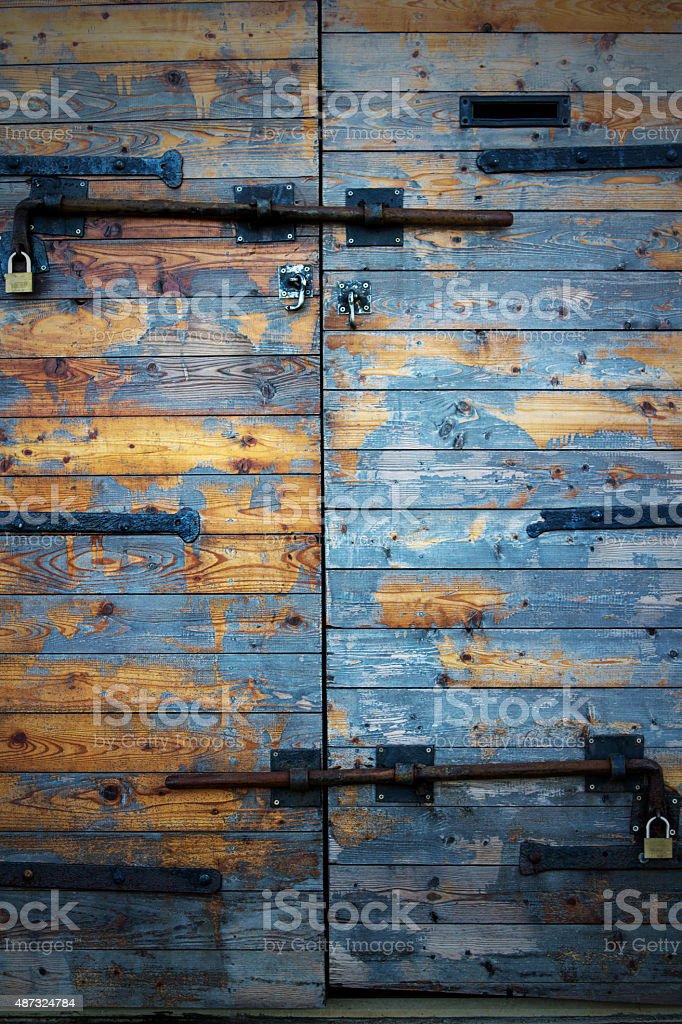 Old woden locked door stock photo