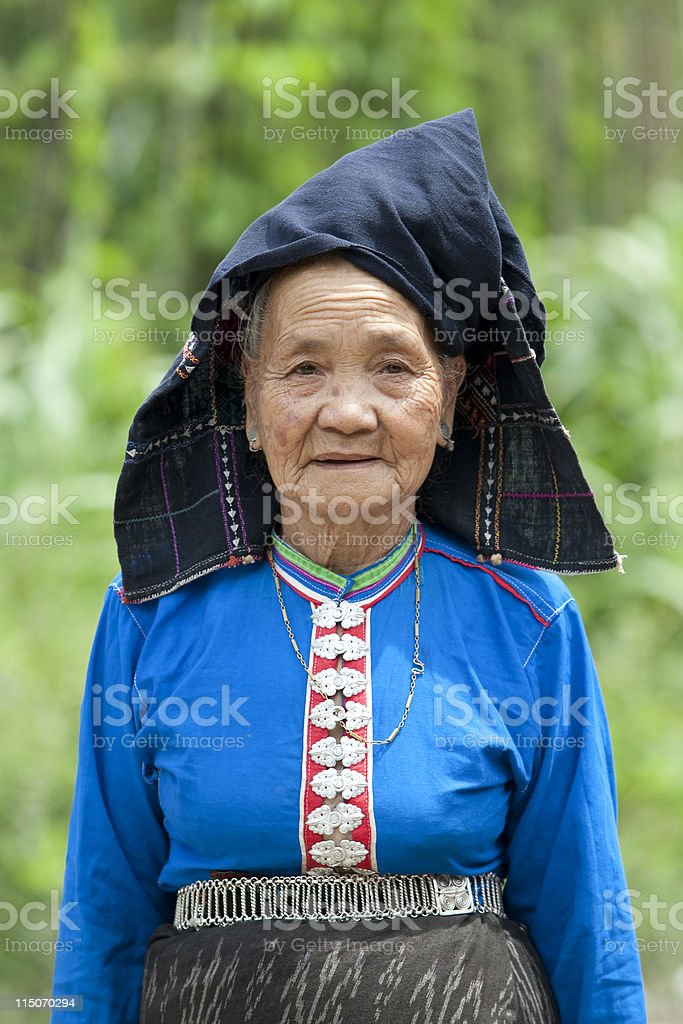 old woman Asia in national costume, Laos stock photo