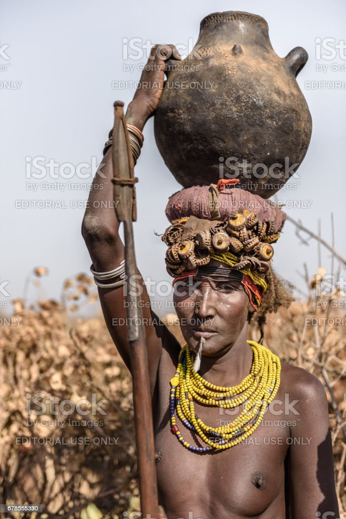 Old woman from Dassanech tribe stock photo