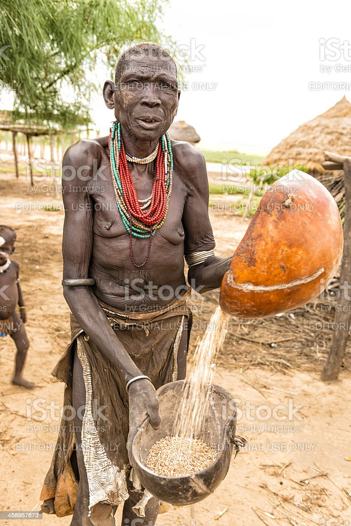 Old woman from Karo tribe stock photo