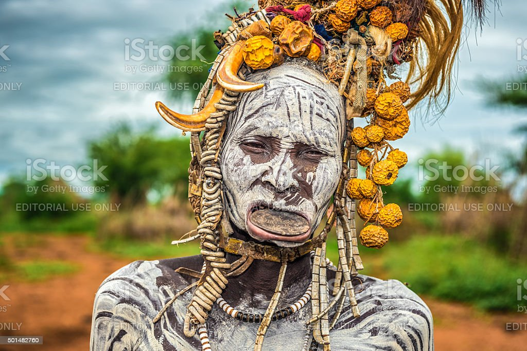 Old woman from the african tribe Mursi stock photo