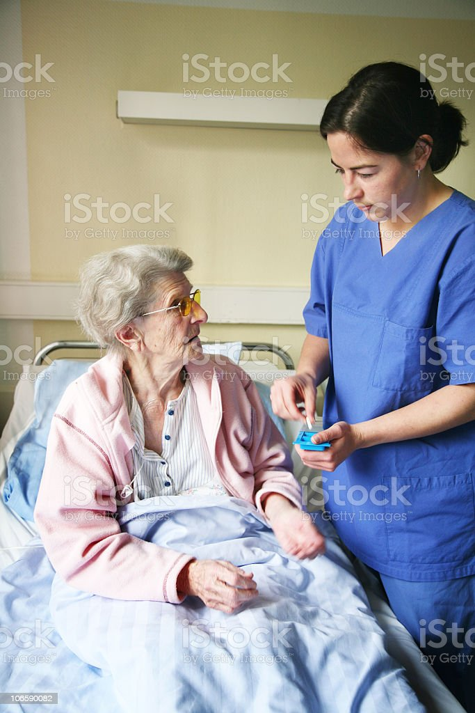 old woman in hospital royalty-free stock photo