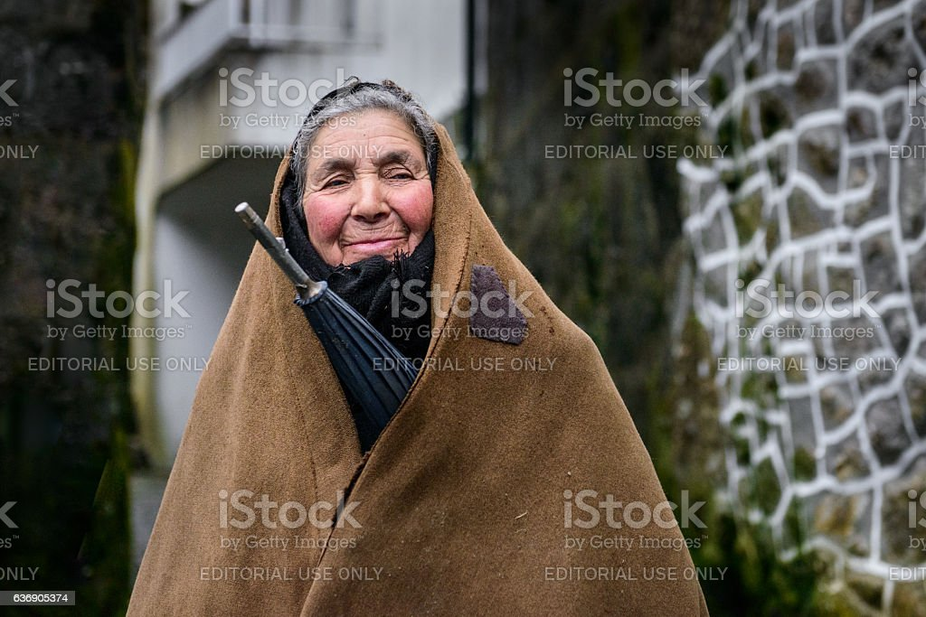 Old woman in Serra da Gralheira, Portugal stock photo